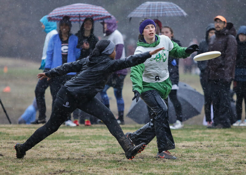 Carleton moves the disc against Georgia during rainy Sunday bracket play at Queen City Tune Up 2018.