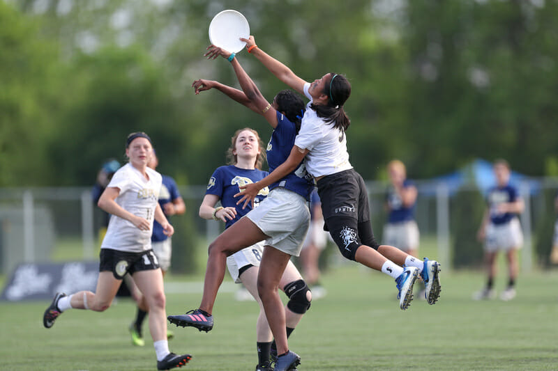 Colorado's Nhi Nguyen conquers a defender in the air against Pittsburgh in the semifinals of the 2018 College Championships.