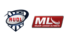 The logos of the American Ultimate Disc League and Major League Ultimate.