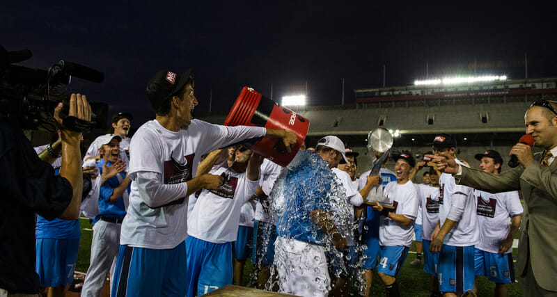 The Boston Whitecaps celebrate their 2013 Major League Ultimate Championship title.