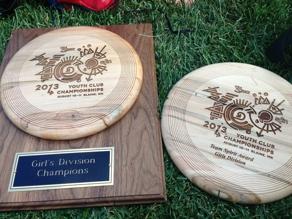 The U19 Seattle Girls' trophies from the 2013 Youth Club Championships.
