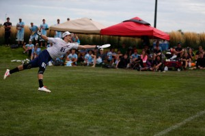 A Doublewide player with gets extended for a grab in the final of South Central Regionals