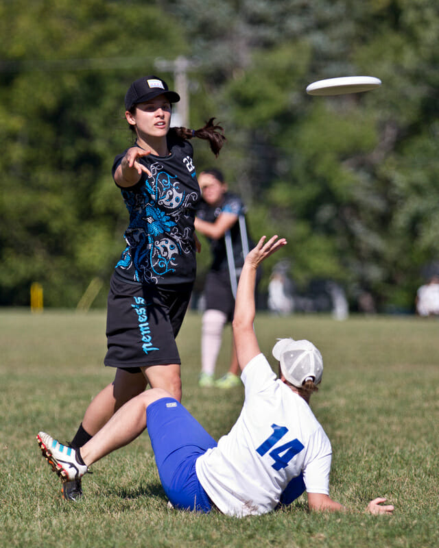 Paula Seville of Nemesis releases a backhand at Great Lakes Regionals