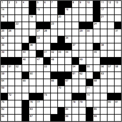 Pete Wentz's crossword grid.
