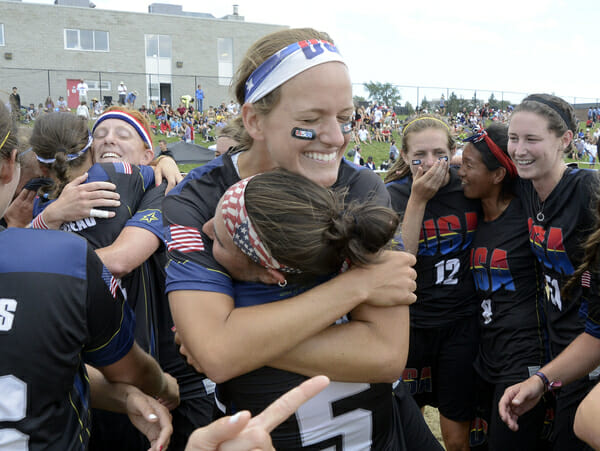 Team USA (Women) celebrates after winning gold at the U23 World Championships in Toronto.