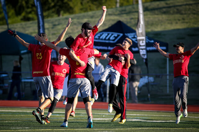 San Francisco Revolver celebrates after winning their third national title in four years. Photo: Christina Schmidt -- UltiPhotos.com