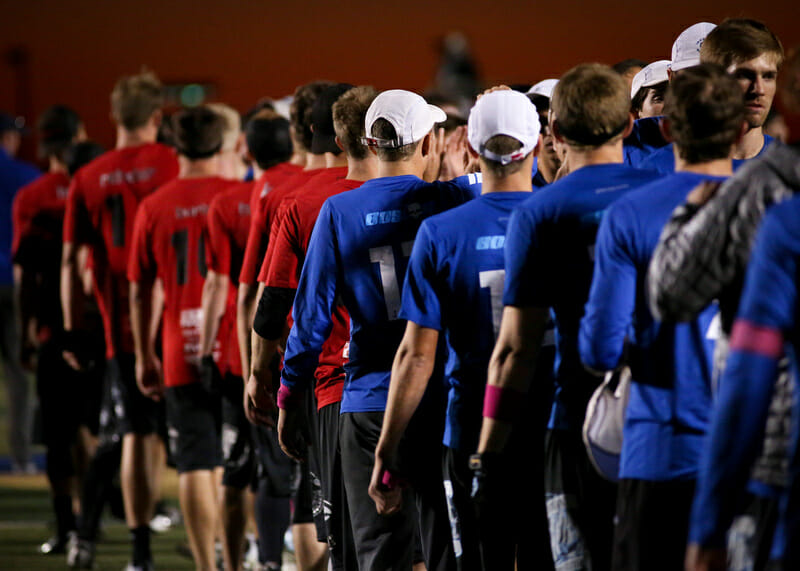 Boston Ironside and Seattle Sockeye players shake hands after their semifinal matchup at the 2013 Club Championships.