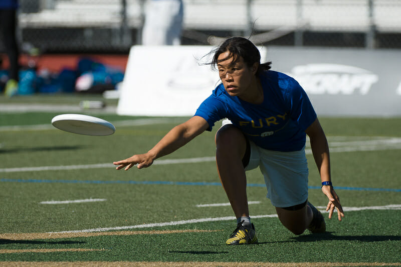 Fury's Nancy Sun throws a low release backhand in the semifinals of the 2013 Club Championships.
