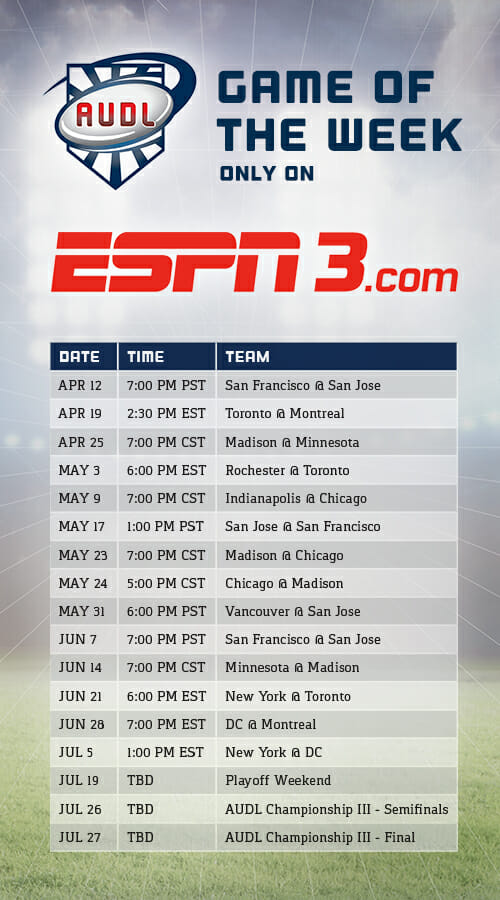AUDL Signs Two Year Deal With ESPN | Ultiworld