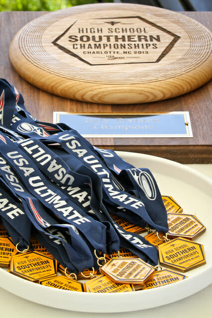 The 2013 USA Ultimate Southerns trophy and medals.