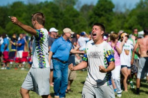 UNC Wilmington celebrates a win over Pittsburgh in the quarterfinals of the College Championships.