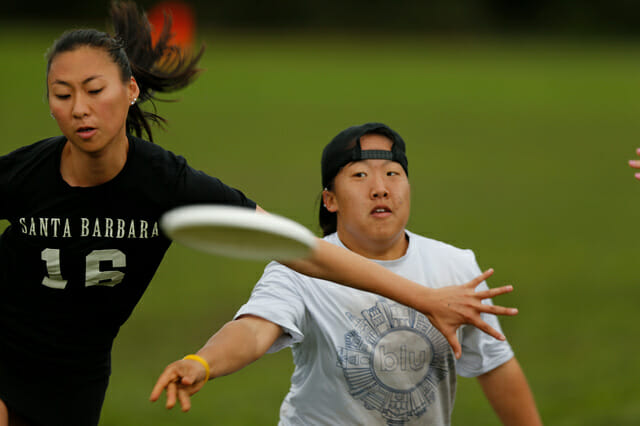 """UCLA's """"Chip"""" Chang throws past a UCSB defender."""