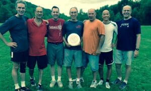 Some members of the founding Cornell ultimate team. From left to right: Bill Nye, Joe Reina, Chip O'Lari, Jon Cohn, Karl Barth, Toby Lou, Don Eibsen.