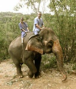 Marc Mekki, Mandarin Journeys GM, 'test-driving' an elephant in Northern Thailand