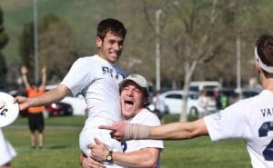 Pitt's Max Thorne and Joe Bender celebrate a victory at the 2015 Stanford Invite.