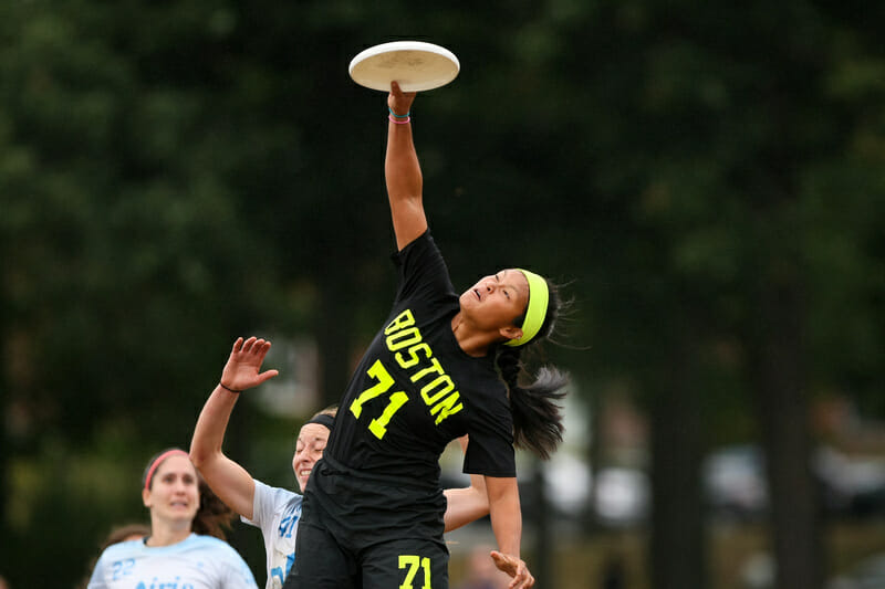Brute Squad's Cassie Wong skies for a disc in the Regional final.