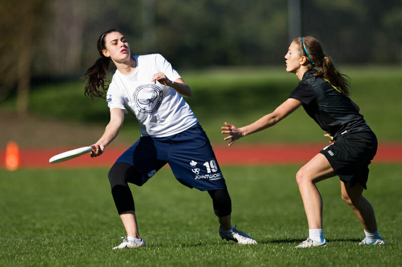 Former rivals Mira Donaldson (left) and Kate Scarth are now teammates on top-ranked UBC. Photo: Jeff Bell -- UltiPhotos.com