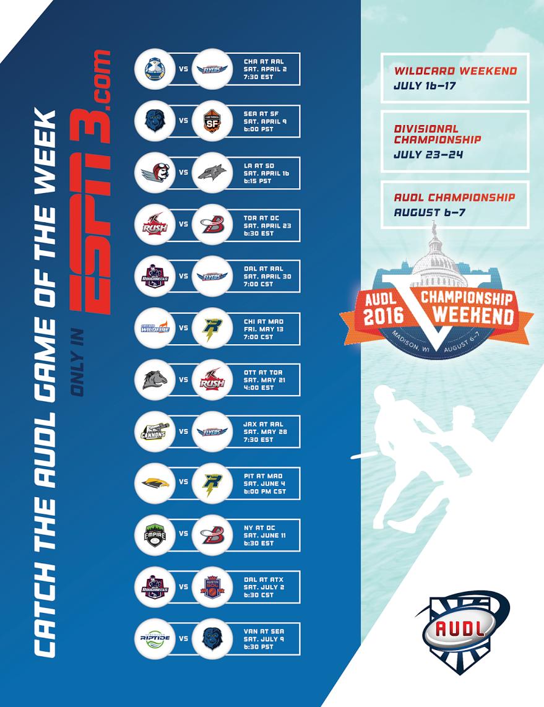 AUDL Announces 2016 ESPN3 Schedule | Livewire | Ultiworld