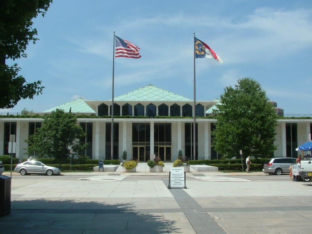 The North Carolina state legislature building.