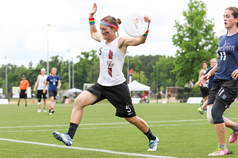 Anne Marie Gordon catches the title winning score for Stanford Superfly. Photo: Paul Rutherford -- UltiPhotos.com