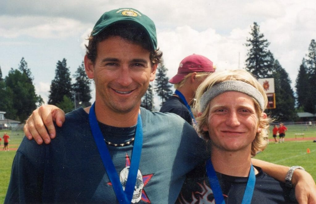 With future Revolver co-founder Nick Handler after winning 2002 College Nationals