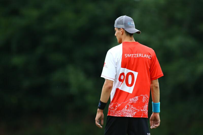 A Swiss player at the 2015 U23 World Championships. Photo: Nathan Kolakovic -- UltiPhotos.com