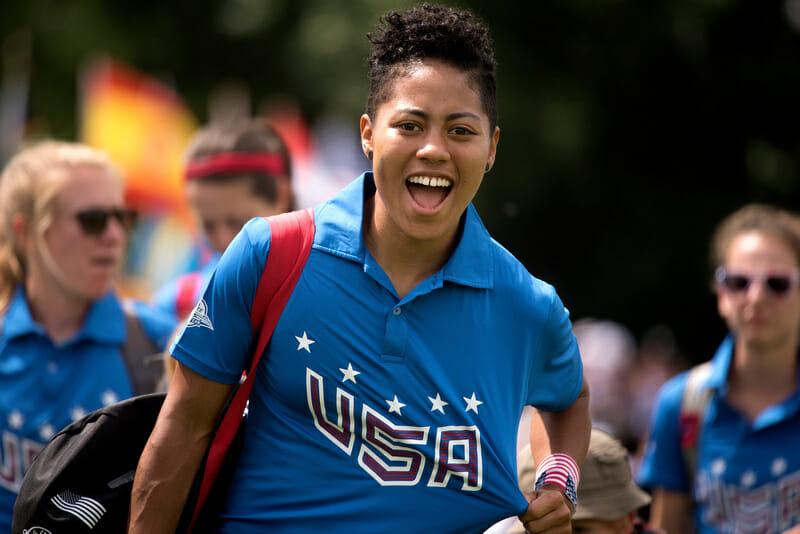 """The USA National Team's Octavia """"Opi"""" Payne. Photo: Jolie Lang -- UltiPhotos.com"""
